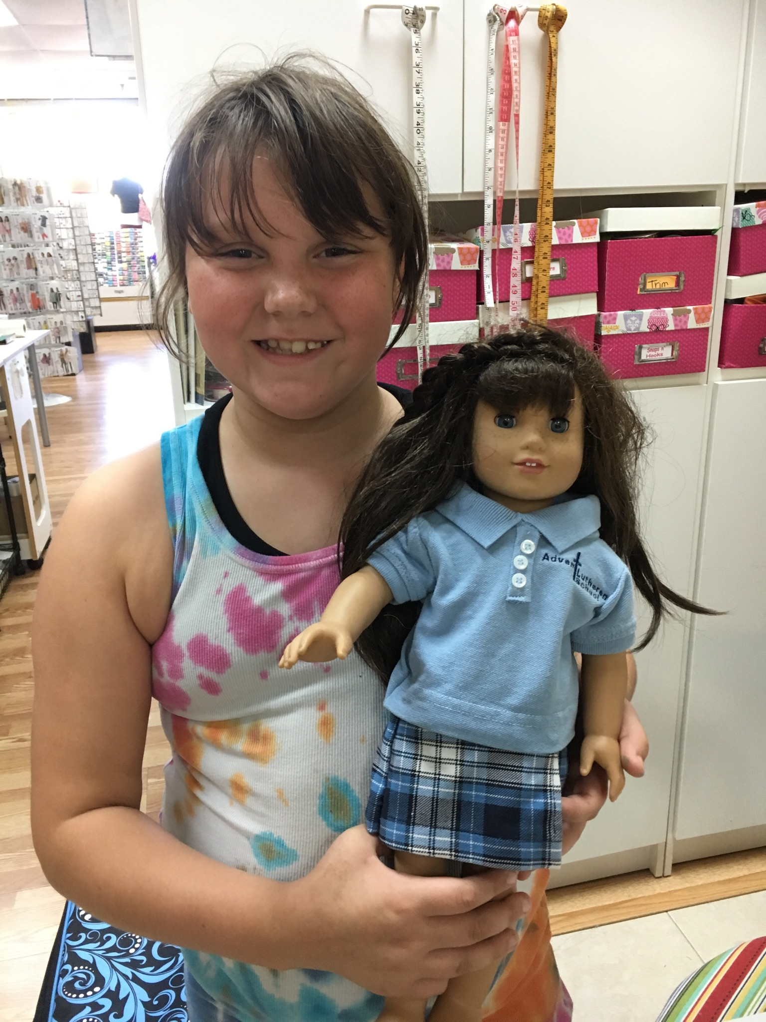 AmyGrace made this uniform for her American Girl doll from her own outgrown uniform.