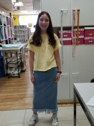 Chana in her jean makeover skirt.