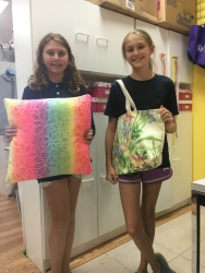 Right, Jillian with her new pillow and Brighton made a tote to take to her slumber party