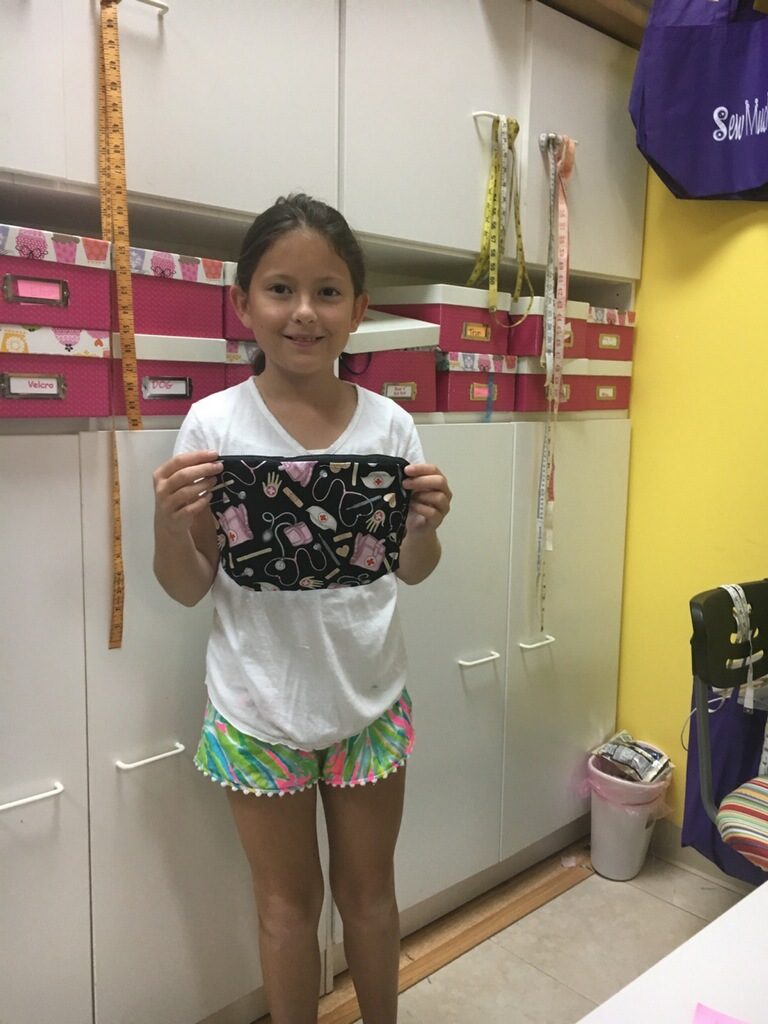 Kennedy made several things this week including a zippered bag and shorts for her mom.