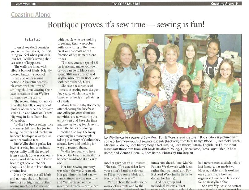 The Coastal Star article for Sew Much Fun, where South Florida Customers are Number One!