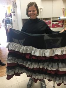 Elise begins her ruffle skirt