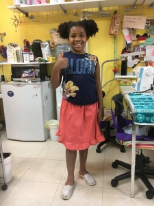 Maya made her first skirt