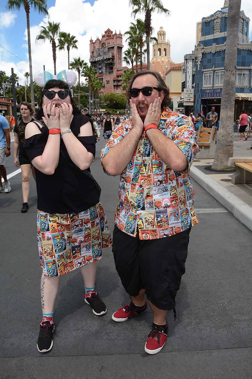 Stacy and hubby in Disney handmade shirts