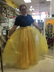 Sofia in her flowing Belle gown