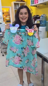 Victoria made two Mickey purses and a blouse this week.
