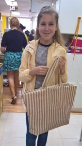 Dana poses with her new reversible tote.